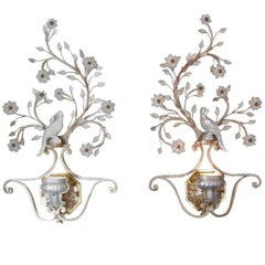 Pair of 1930s French Iron and Crystal Wall Sconces