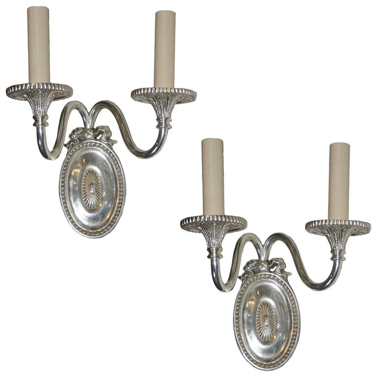 Neoclassic Silver Plated Sconces