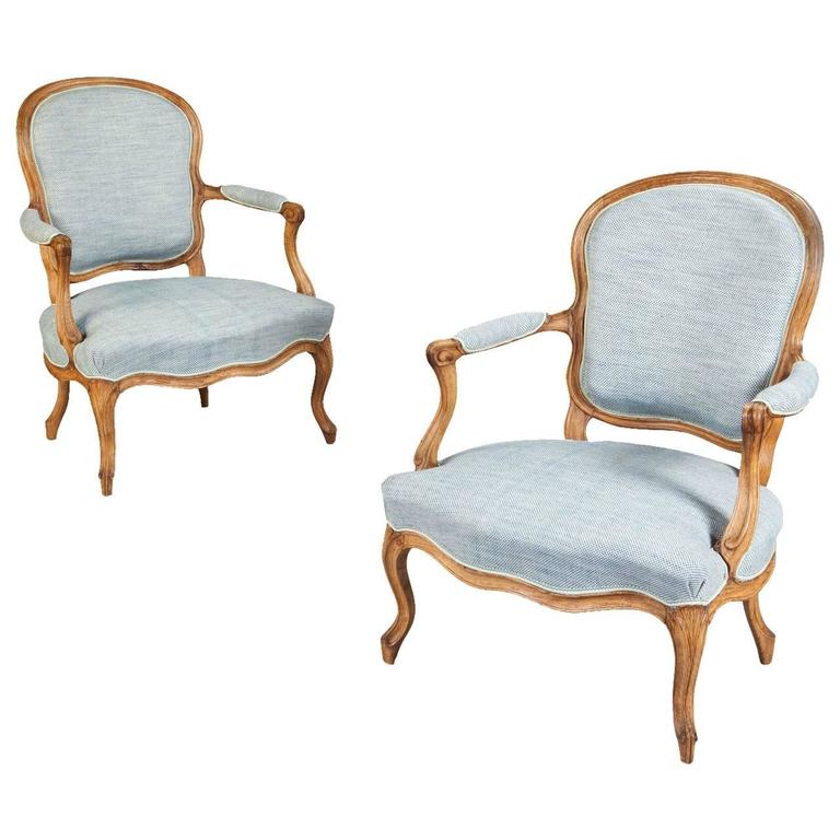 Louis XV Pair Of French Armchairs Or Fauteuils, Stamped Jean Jacques  Pothier For Sale
