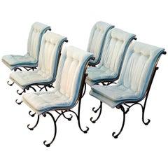 Set of Six Hollywood Regency Sculptural Scoop Dining Chairs by Lee Woodard