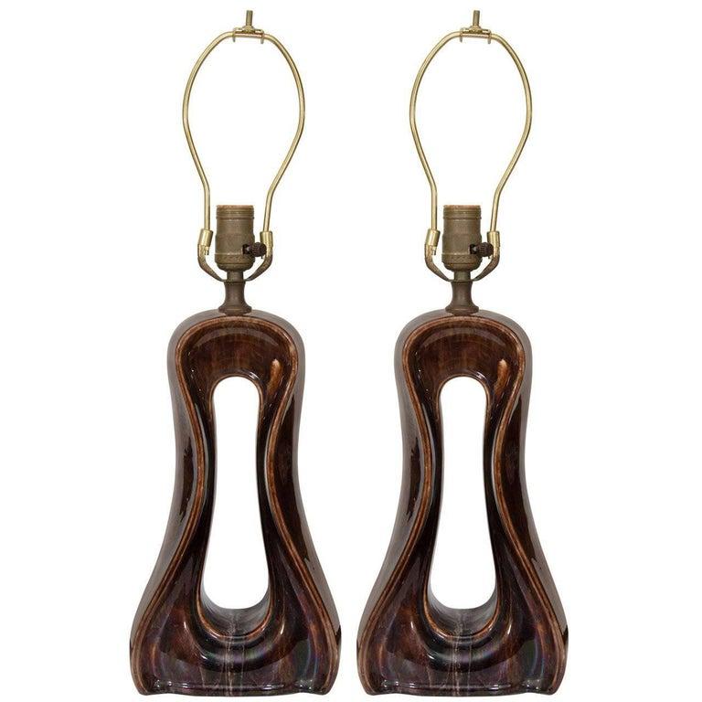 Pair of Vintage Brown Ceramic Lamps
