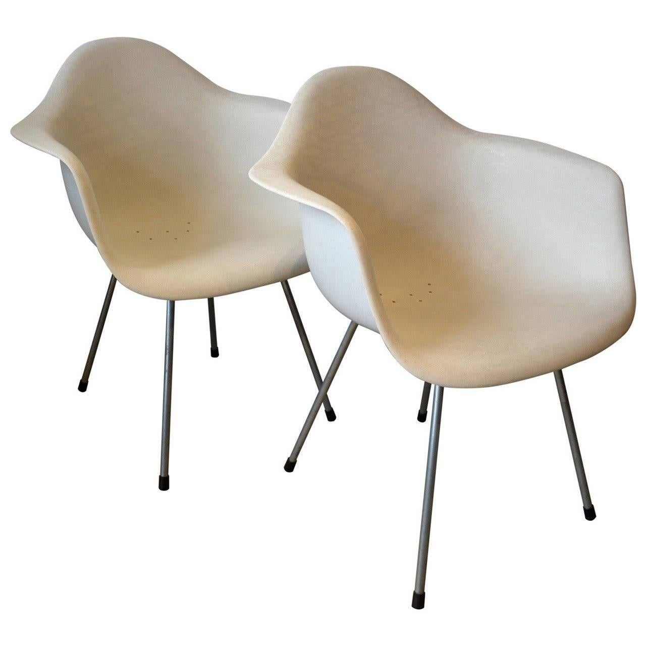 Pair of Eames Molded Fiberglass Side Chairs by Herman Miller, 1950's