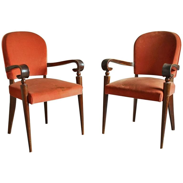 Pair of French Art Deco Bridge Armchairs by Maxime Old