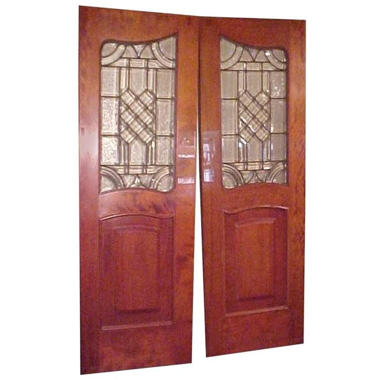 19th Century, Pair of Antique Leaded Glass Inset in Mahogany Raised Panel Doors