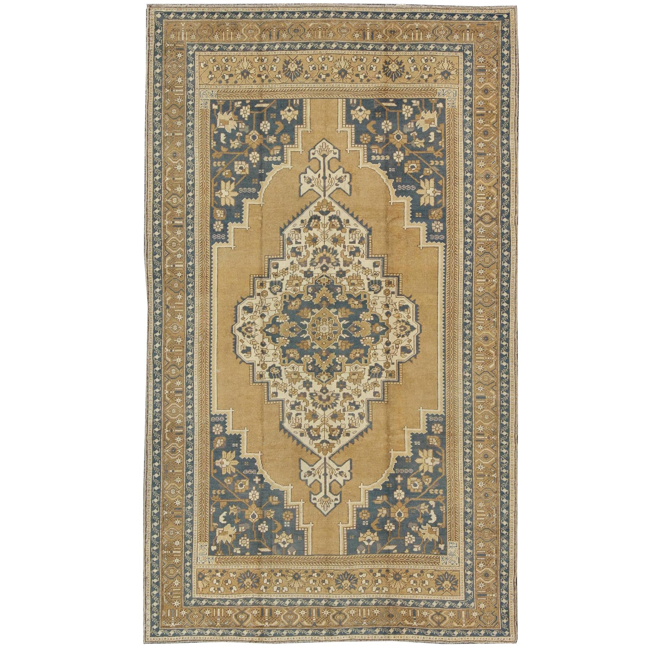 Vintage Turkish Rug in Gray Blue and Yellow tones
