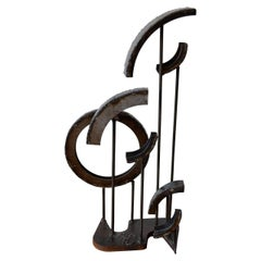 Brutalist Welded Iron Circle Sculpture by American Artist Frank Cota