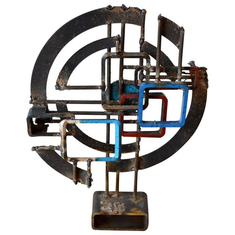 Brutalist Iron Sculpture by American Artist Frank Cota