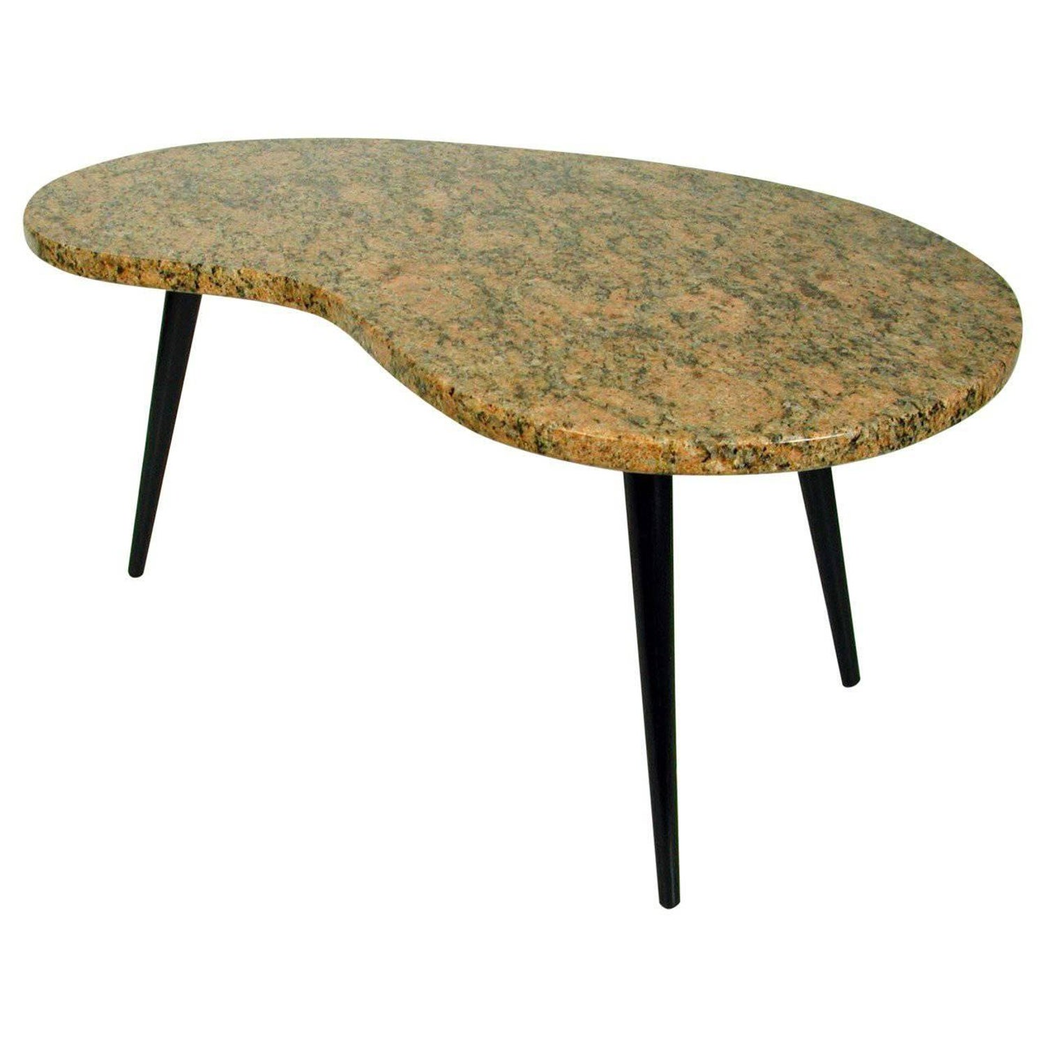 Italian Modern Marble Top Kidney Shaped Coffee Table For Sale at
