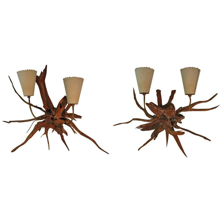 Amazing Pair of Mid-Century Modern Sun Bleached Root Wall Sconces For Sale