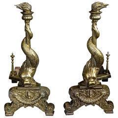 Brass Dolphin Andirons