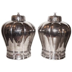 Large Silver Porcelain Lamps