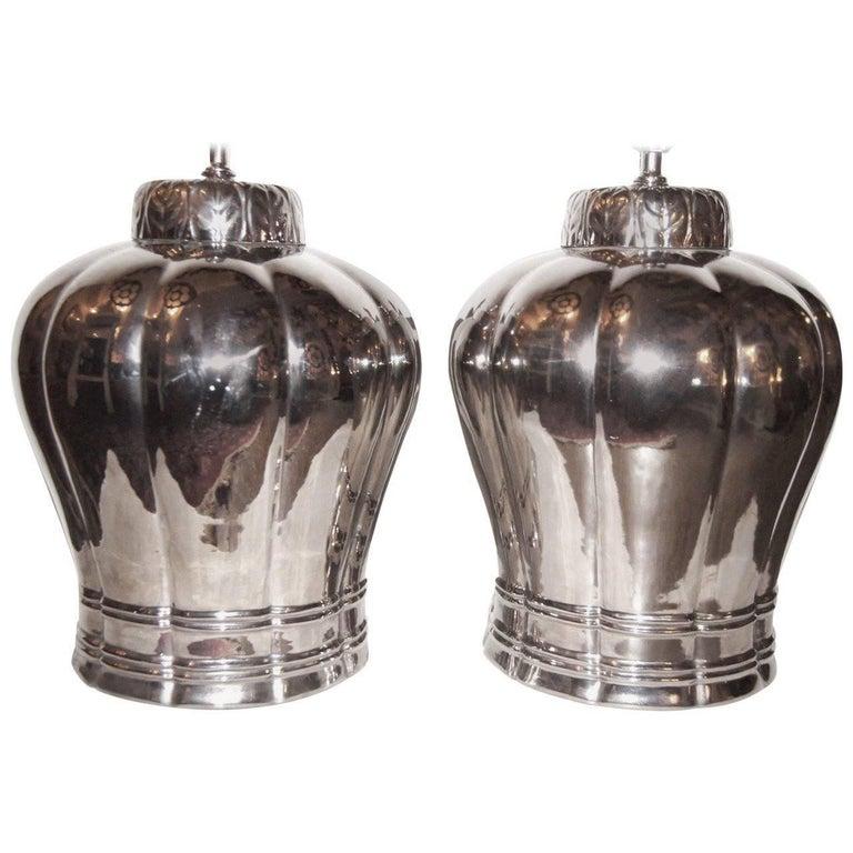 Large Silver Porcelain Lamps