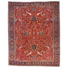Antique Persian Serapi Decorative Oriental Carpet, in Room Size, Allover Design