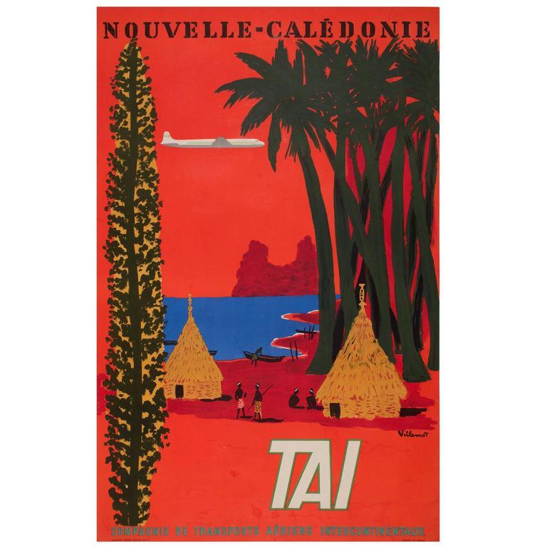 Original 1950s Vintage Airline Poster by Bernard Villemot for TAI For Sale