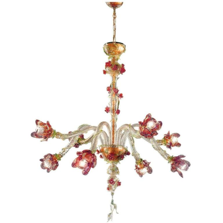 Italian Mid-Century Style Organic Floral Venetian / Murano Glass Chandelier For Sale