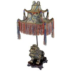 Rare Exotic 1920s Chinoiserie Lamp of Tasseled Pagoda Shade with Foo Dog Base