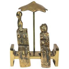 "Style of Max Ernst Bronze Sculpture, ""Rendez-Vous d'Amour"", Signed Provenance"
