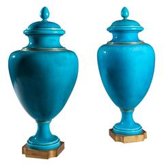 Pair of Turquoise Vases with Covers by Sèvres