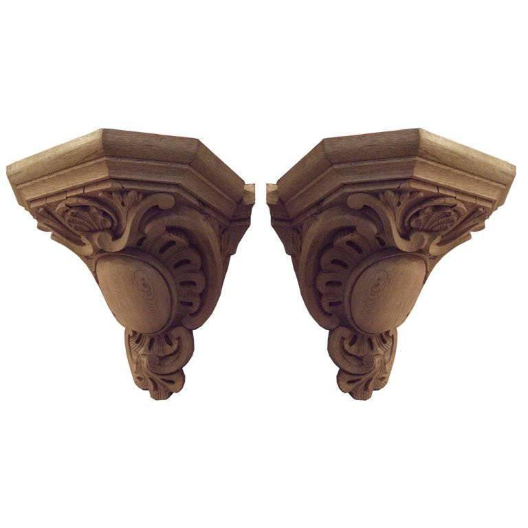 Pair of 19th Century Large-Scale Carved Oak Brackets