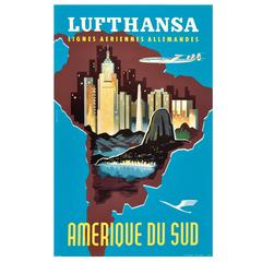Original Vintage Travel Poster Advertising South America by Lufthansa