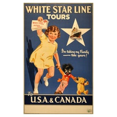 Original Vintage Poster Advertising White Star Line Tours To USA And Canada 1930