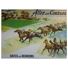 Gigantic 1930s French Horse Racing Poster by Jacquot