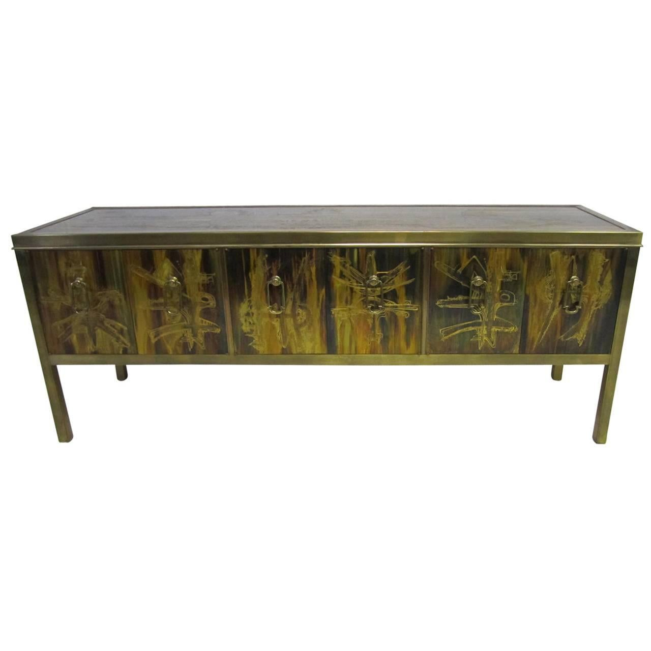Outstanding Acid Etched Brass Credenza by Bernard Rohne Mastercraft