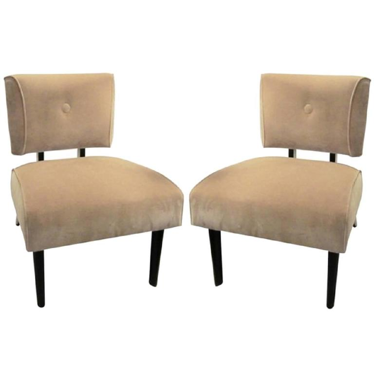 Pair Of Mid Century Modern Slipper Chairs