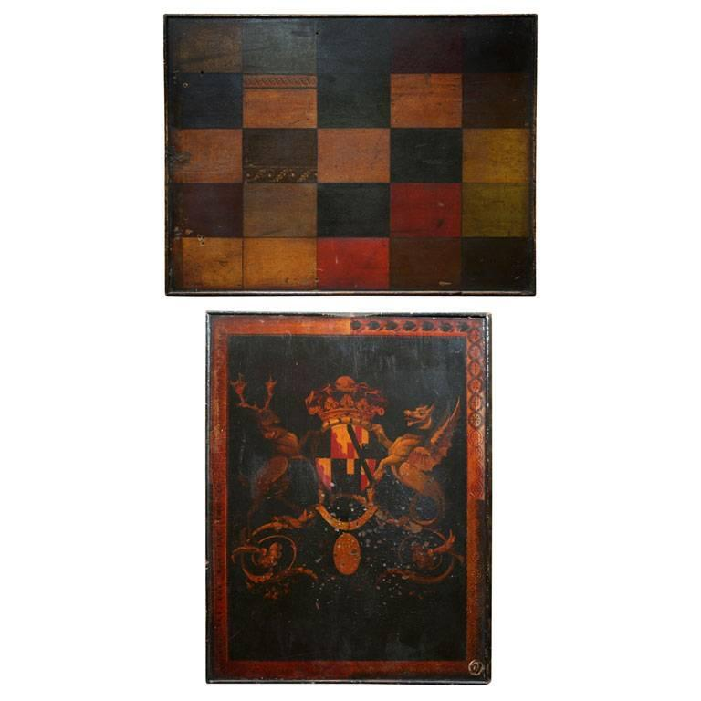 Folk Art Sign-Maker's Sample Board in Original Paint For Sale