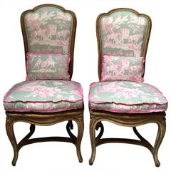 Pair of French Chairs in Manuel Canovos Toile