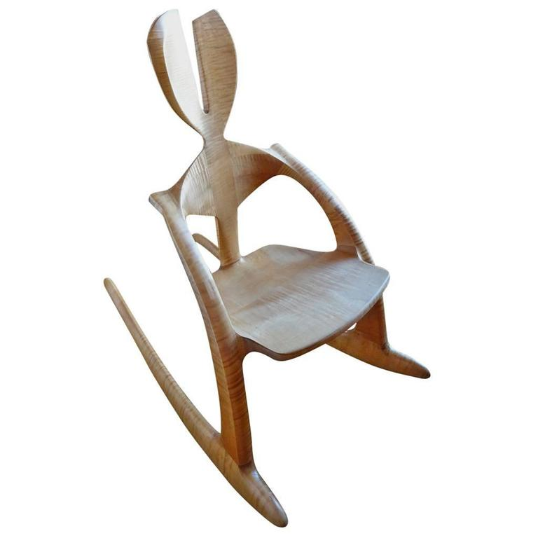 Rare Wendell Castle Tiger Maple Rabbit Ear Rocker For Sale