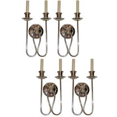 Set of Four Moderne Silver Plated Sconces