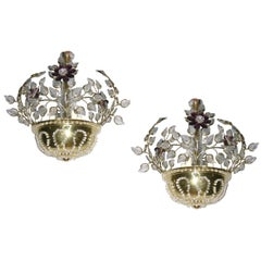 Pair of Fixtures with Glass Leaves and Amethyst Flowers