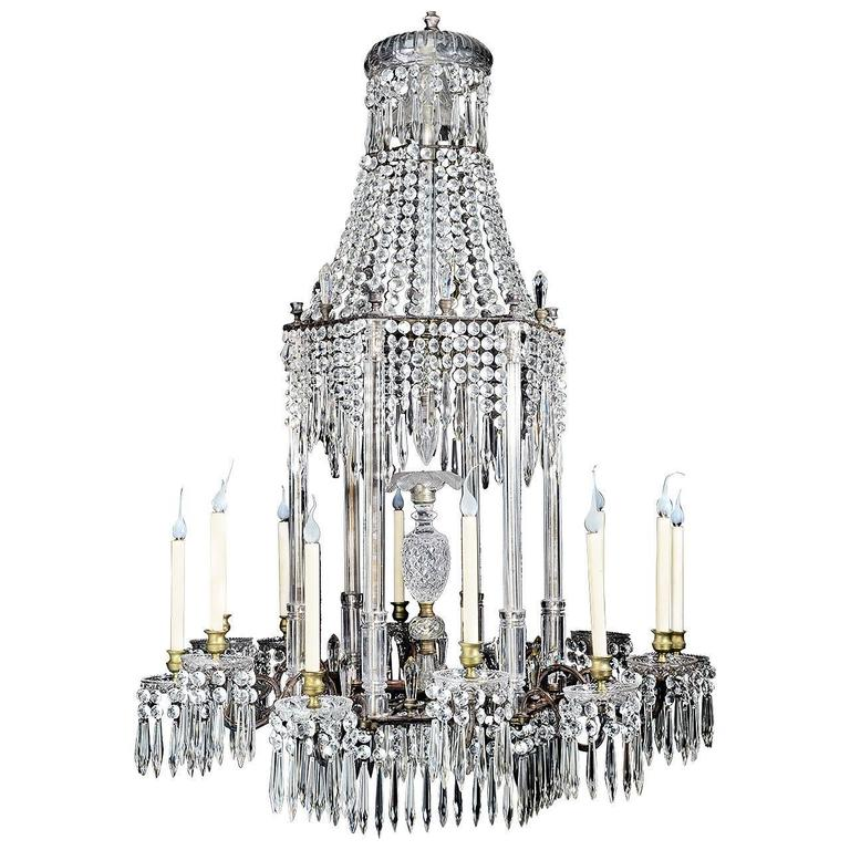 Large antique english regency cut crystal and bronze chandelier for large antique english regency cut crystal and bronze chandelier for sale audiocablefo