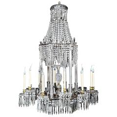Large Antique English Regency Cut Crystal and Bronze Chandelier