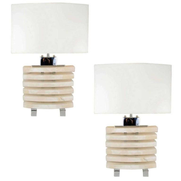 Pair of Stacked Alabaster Lamp in the Manner of Karl Springer