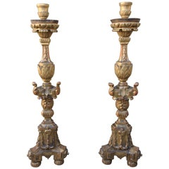 Pair of 18th Century Giltwood Torcheres