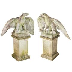 Pair of Carved Stone Eagles