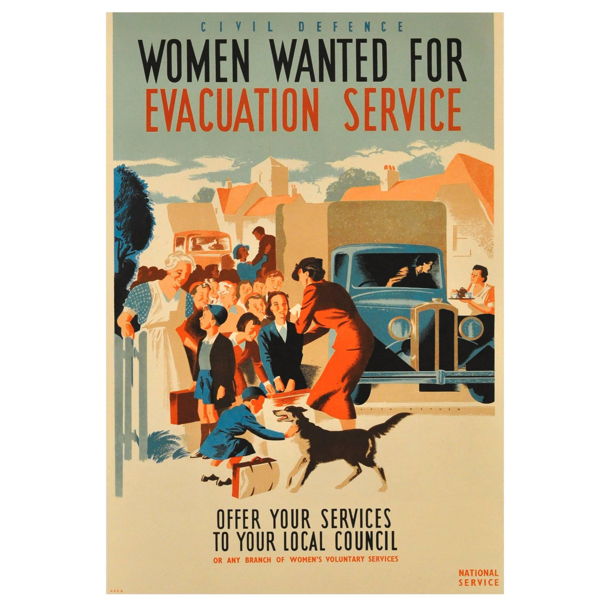 Original World War II Poster - Civil Defence Women Wanted for Evacuation Service