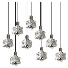 Kinkeldey Pendant Tier Chandelier with Nine Crystal Glass Lights Chrome Fixture