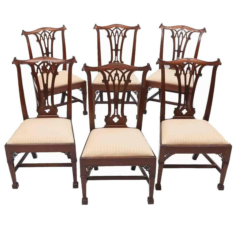 Genial Early 19th Century Set Of Six Chippendale Gothic Style Dining Chairs For  Sale