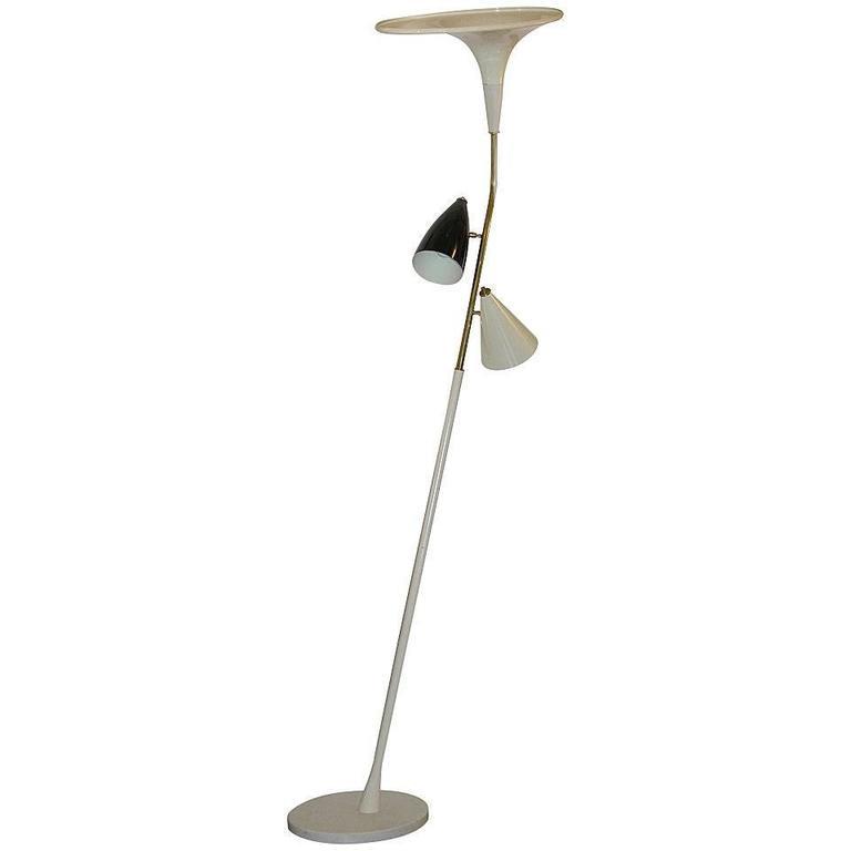 1960s Italian Black and Ivory White Modern Floor Lamp in the Style of Stilnovo