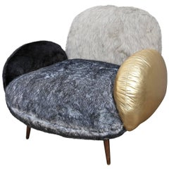Custom Faux Fur and Leather Lounge Chair