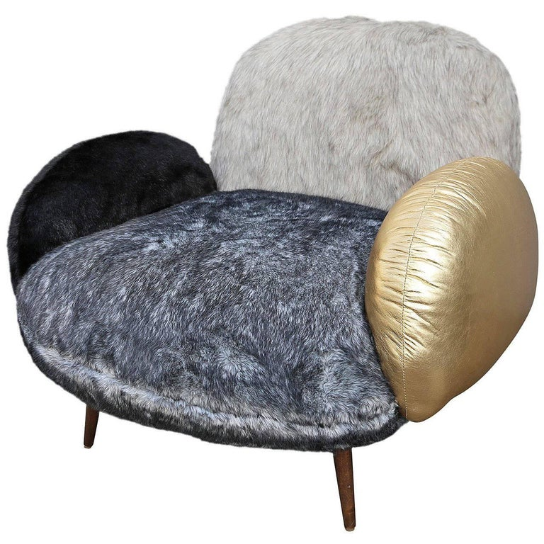 Custom Faux Fur and Leather Lounge Chair 1