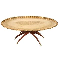 Moroccan Oval Brass Tray Coffee Table