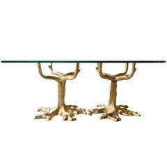 Scandinavian Mid-Century Modern Bronze Base Coffee Table in Tree Form