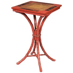 Red Japanned, Faux Bamboo Occasional Table