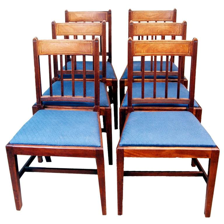 Antique Georgian Set of Six Mahogany Dining Chairs For Sale