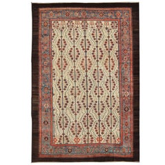 Antique Persian Serab Rug with Tree Design in Cream, Red, Blue and Brown Colors