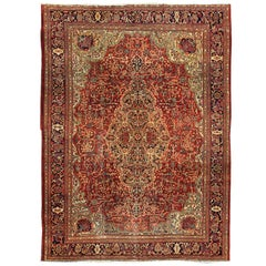 Antique Persian Sarouk Farahan Fine Rug in Red, Green and Jewel Colors